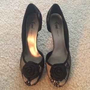 Black Floral Heels by Fioni Night